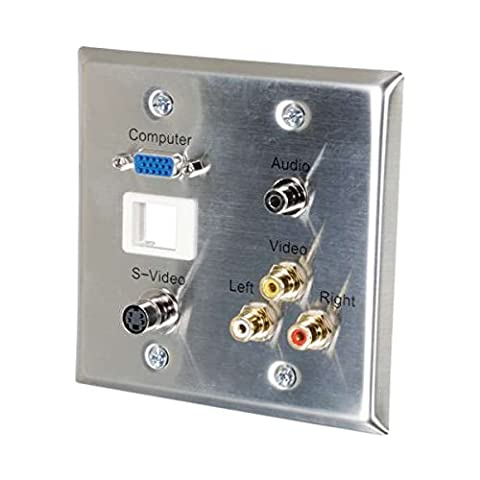 C2G Double Gang HD15, 3.5mm, S-Video , Composite Video, Stereo Audio, Keystone Insert Wall Plate - Stainless Steel - cable interface/gender adapters (3.5mm, S-Video , Composite Video, Stereo Audio, Keystone Insert Wall Plate - Stainless Steel, HD15, 3.5mm, S-Video, Composite Video, Stereo