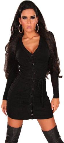 In Style maglia da donna abito & Giacca in maglia con bottoni e cintura Band taglia unica (34-40) nero Taglia unica 40-46