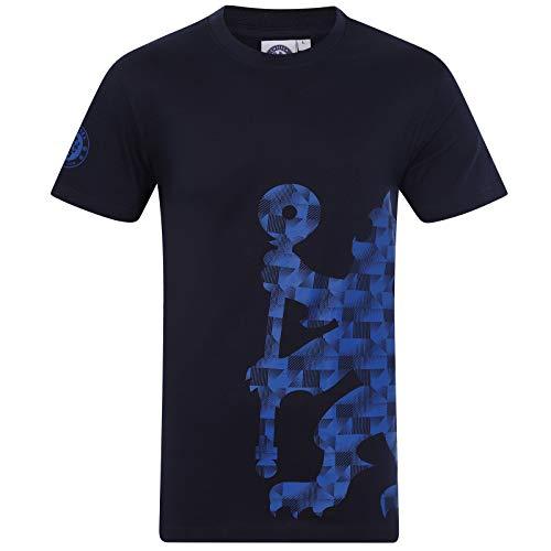 Chelsea FC - Herren T-Shirt mit Printmotiv - Offizielles Merchandise - Dunkelblau - Logo am Ärmel - XL -