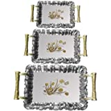 Sakoraware Today's Deal New Export Quality Stainless Steel Tray (Set Of 3) With Golden Handles & Royal Finishing & Packaging - Best For Home/Gift (Exactly Same As Shown In Pic)
