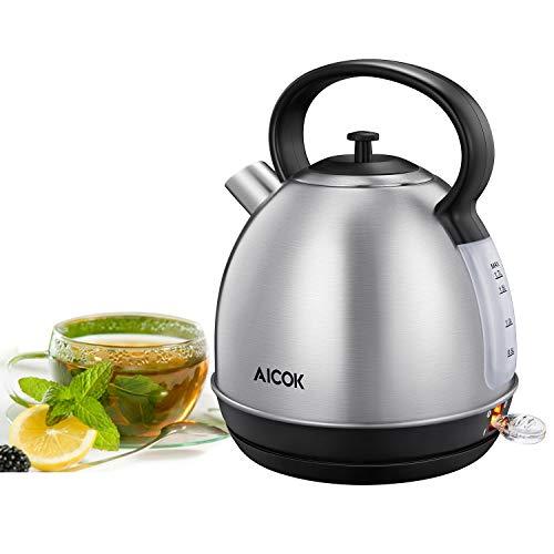Aicok Hervidor de Agua Eléctrico con 2200W, Acero Inoxidable Hervidor con termostato...