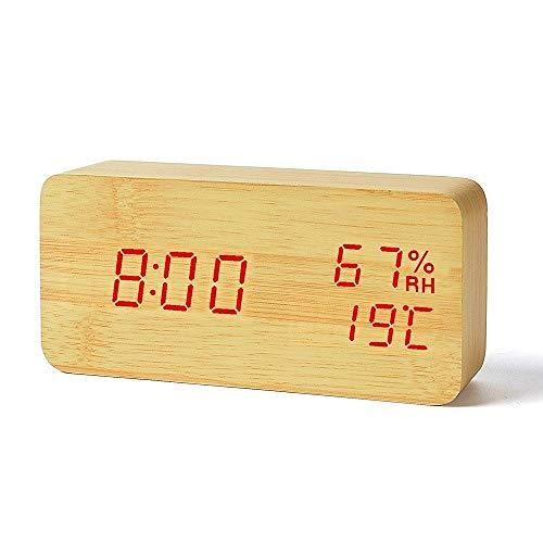 SMAERTHYB Madera Madera Led Reloj Despertador Temperatura Humedad Electrónico Escritorio Mesa Digital Digital