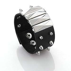 Métal Punk pic Rivet Clou en cuir Bracelet jonc homme
