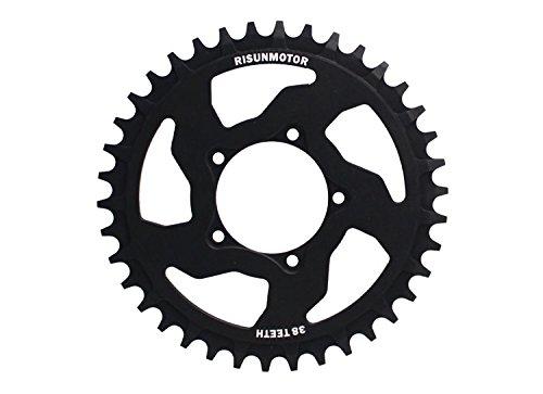 Black 38T Chain Wheel Crankset Electric Bicycle 8FUN Center Drive Motor Kits For BAFANG BBS01 250w 350w BBS02 500w 750w Mid Drive Motor