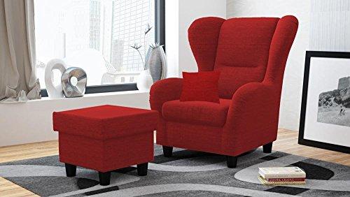 Sessel, Ohrensessel, Hocker, Zierkissen, rot, Strukturstoff B/H/T 90/98/76 cm