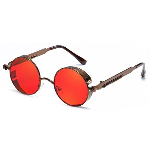 Juleya gótico Steampunk redondo gafas de sol de metal para hombres mujeres espejo retro vintage gafas UV400 C2