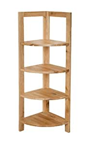 Natural Wood Corner Shelf Unit