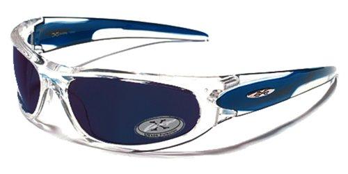Occhiali da Sole X-Loop - Sport - Ciclismo - Sci - Driving - Moto - Arrampicata / Mod. 1200 Blu Traslucido e Cristallo / Un formato adulto / 100% Protezione UV-400