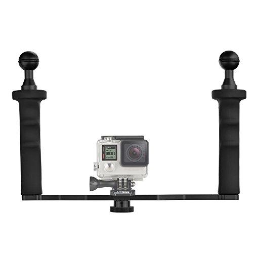 D&F Aluminiumlegierung Dual Handheld Handgriff Video Stabilisator für GoPro 6/5/4/3 + / 3 SJCAM SJ4000 / 5000/6000 Xioao Yi 24 Karat & Kamera Camcorder LED Licht & Unterwasser Dome