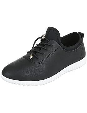 Sportschuhe Damenschuhe Geschlossen Sneakers Schnürsenkel Ital-Design Freizeitschuhe