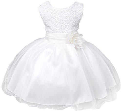 Eudolah Robe bebe fille en tulle avec le top paill¨¦t¨¦ bapteme ceremonie mariage 18-24 mois blanc