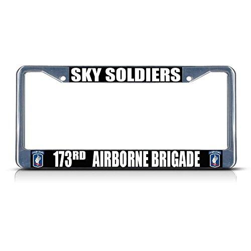 Preisvergleich Produktbild Sky Soldiers 173RD Airborne Brigade Armee Metall Kennzeichenrahmen Rahmen Tag Bordüre Perfekt für Männer Frauen Auto Garadge Dekor