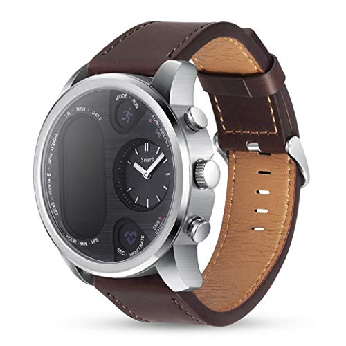 WJSEIF Sportuhr Sports hybrid smart Watch Waterproof 5ATM and Mechanical Watch Standby 15 Days Stainless Steel Fitness Activity Tracker,Brown First Alert Motion