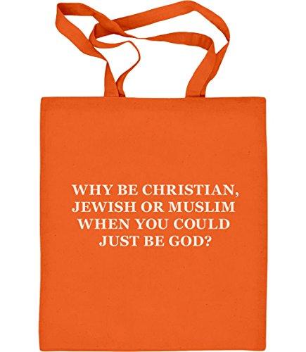 Green Turtle T-Shirts Geschenk für Atheisten - Why be Christian Jutebeutel Baumwolltasche One Size Orange (Nicht-religiösen Shirt)