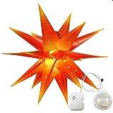Erwei 3D Leuchtstern Adventsstern Weihnachtsstern mit 18 Spitzen Stern 3D Kunststoff Ø 60cm Fensterstern mit LED Kugel (Rot mit gelben Spitzen mit LED Kugel)