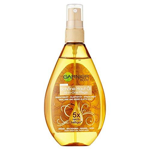 Garnier Oil Beauty Schöne Haut Öl, für gepflegte, seidig weiche Haut, mit 4 Beauty-Ölen aus Argan, Macadamia, Mandel und Rose, 150 ml -