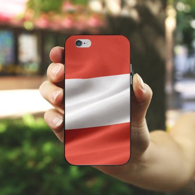 Apple iPhone X Silikon Hülle Case Schutzhülle Österreich Flagge Austria Silikon Case schwarz / weiß