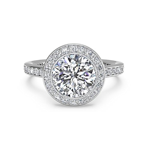 Moderner Runder Schnitt (1,15CT rund Moissanit Verlobung Diamant Ring Sterling Silber Weiß Gold Finish Größe M N O)