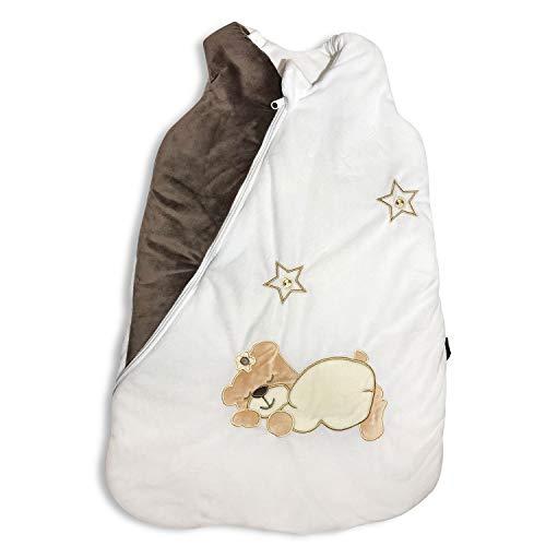 Ganzjahres Baby-Schlafsack in 70cm länge| Unisex braun/weiß | Wattiert mit Baumwolle | Ganzjährig in 2,5TOG | Erstausstattung für neugeborene Mädchen/Jungen zwischen 0-10 Monate von MF-Products