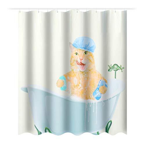 DaDago Cat Wasserdicht Polyester Badezimmerdusche Und 12 Haken 150X180Cm/180X180Cm - 150X180Cm