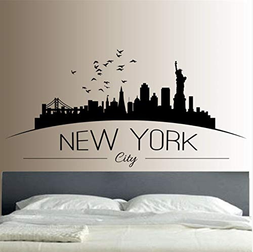 LSFHB New York Skyline Wandaufkleber Schlafzimmer Lounge Wandkunst Aufkleber Removable moderne Stadt Bild Design42x83cm