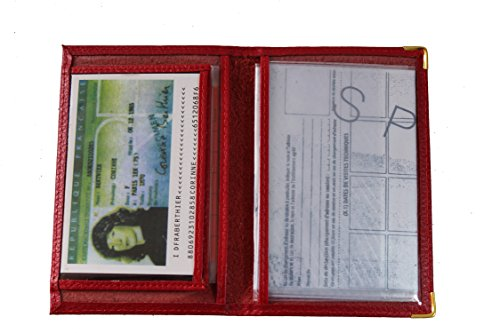 Frédéric&Johns ® - Etui papier voiture 2 volets en cuir (permis, carte grise, carte bancaire, carte de transport) - très pratique