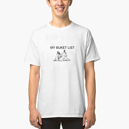 T-Shirt Herren Sommer Oberteile Meine einfarbigen T-Shirts der Eimer-Listen-Bier-EIS-Strand-Party-Spaß-Männer(Can Custom-Made Pattern) (Color : Weiß, Size : L)