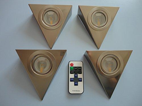 """Küche Dreieckleuchte LED 3Watt, 225lm, warmweiß, mit Funk-Fernbedienung und Dimmfunktion """"1-5er Komplett-SET"""" (4er Set)"""