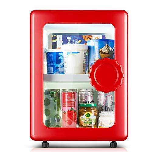 Lxn Kompakter eintüriger Kühlschrank mit Gefrierfach, Mini-Kühlschrank mit Glastür, perfekt für EIS, Getränke, Gemüse und Obst, für Büro und Haushalt oder Bar, Kapazität 25 Dosen - Rot