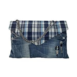 Jeans Clutch Tasche, Recycelte Jeans Metallkette Clutch, Denim Clutch Umhängetasche 40/24 CM – Blau