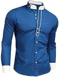Nueva camisa elegante moderna decorativa borde doble Puños Cuello Alto