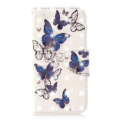 iPhone 6 Plus Hülle, Bear Village® 3D Glitter Surface Leder Cover Brieftasche Schutzhülle mit Kartenfächern und Ständer Funktion für Apple iPhone 6 Plus / 6S Plus (#2 Schmetterling)
