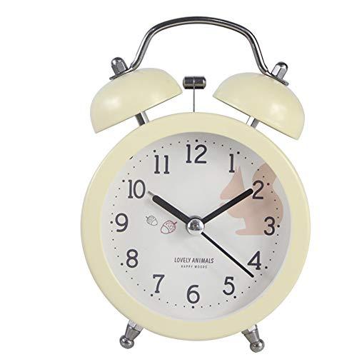 GX&XD Redonda Twin Bell Fuerte Reloj para niños Creativo Decoración del hogar Fácil al Conjunto de Despertador con luz Nocturna Mini No Tic-TAC Reloj de Viaje para casa Oficina-A diámetro10cm(4inch)