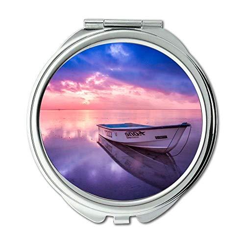Yanteng Spiegel, Schminkspiegel, Strandboot Dämmerung, Taschenspiegel, tragbarer Spiegel