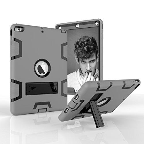 4in Heavy Duty Air (iPad Air Fall, iPad 5Fall, dooge Drei Schichten PC & Silikon Armor Defender Heavy Duty Dämpfung Robuste Hybrid Full Body Schutzhülle mit Kickstand für Apple iPad Air/iPad 5(Modell 2013), Grey+Black)