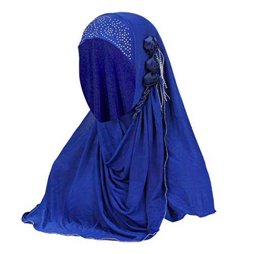 ZEELIY Damen Turban Hut Hals Chemo Kappe Haar Kopftuch Islamischen Abaya Dubai Frauen Elegante Gesichtsschleier Hidschab Schal Ramadan Kopfbedeckung Hijab - Lange Lace Trim Kleid Blau