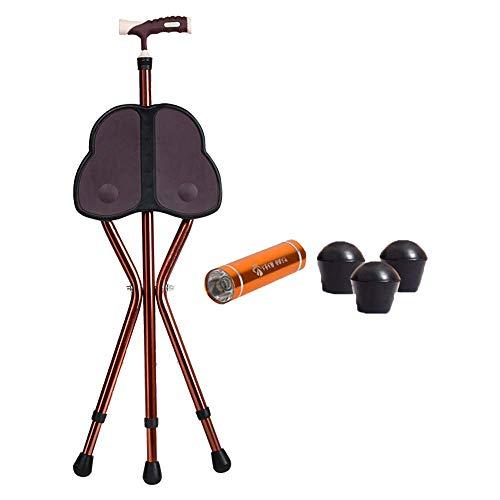 Faltbarer Gehstockstuhl, leicht und tragbar, mit Taschenlampe hochklappbar. Trekkingstock für ältere Menschen zum Gehen, geeignet für ältere und behinderte Menschen -