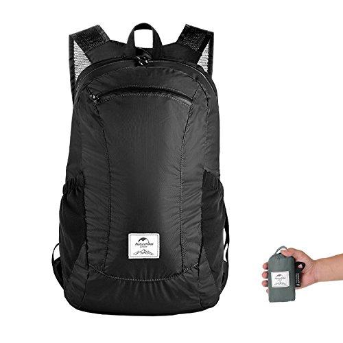 Faltbare Rucksack Ultraleicht Wasserdicht Wandern Daypack Naturehike, Kleiner Rucksack Dauerhaft Handliche Faltbare Tagesrucksack Perfekt für Klettern Camping Rucksack Radfahren Reisen (Schwarz)