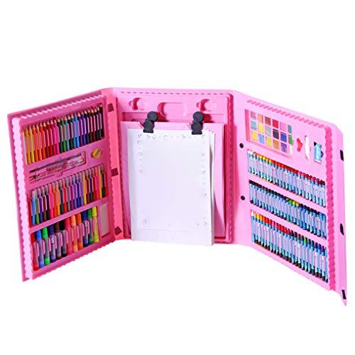 PKQ Art Supplies Für Zeichnung Staffelei Pinsel Zeichenbrett Malerei 176 Stück Großes Geschenk Kinder Deluxe Zeichenwerkzeuge Art Set,Pink