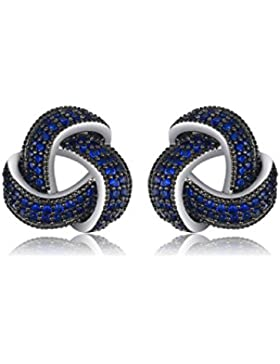 JewelryPalace 0.5ct Erstellt Blau Spinell Blumen Wraparound Cluster Ohrstecker 925 Sterlingsilber