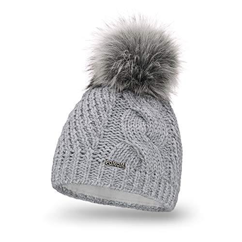 Pamami 18511 - berretto termico invernale da donna, lavorato a maglia, con pompon, morbido, realizzato in ue, colori a scelta, light grey