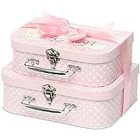 Caja de recuerdo, 2 fundas de color rosa con cinta de satén y etiqueta de