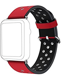 Apple Watch Correa,Culater Correa de Repuesto de Cuero de Primera Calidad para Apple Watch 42mm (Rojo)
