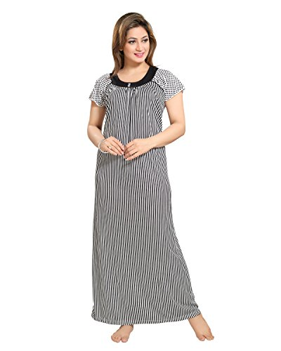 Tucute Women Beautiful Line print Nighty / Night Gown / Night Dress (Black) (Free Size) D.No.1278