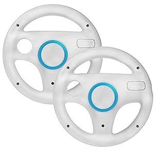 booEy 2x Lenkrad Wheel für Nintendo WII, Wii mini und Wii U Mario Kart weiß