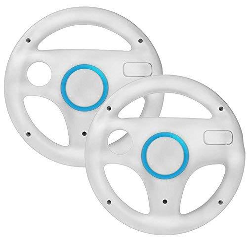 booEy 2x Lenkrad Wheel für Nintendo WII, Wii mini und Wii U Mario Kart weiß (Mario Kart Wii Mini)