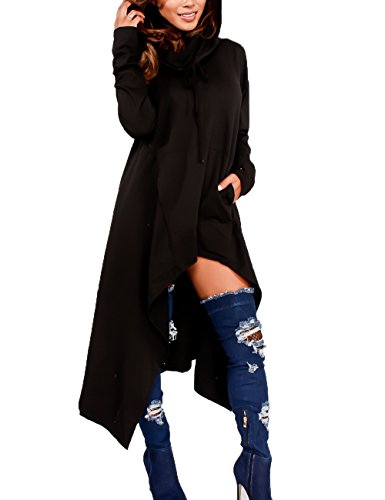 Junshan Kapuzenpullover Pullover Damen Lang Strick Oversize Langarm Pullikleid Longshirt Top 36-48 10 Farbe 7 Größe (Schwarz, 44)