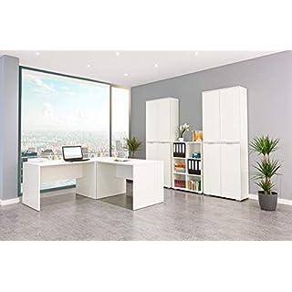 Möbel Pracht Bürozimmer, Büromöbel, Schreibtisch, Aktenschrank und Regal aus der Serie mutatio (Büroset 13 TLG, Weiß)