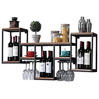 Wand Weinregal Metall Eisen für Bar, Weinständer | Becherhalter | Weinkühler zur Wandmontage Wine Display Wine Bottle Rack 106x20x45cm