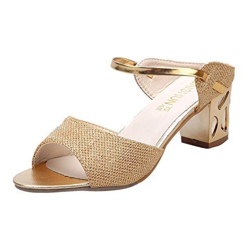 Longra Donna Estate Piscine Bocca spessi tacco alto sandali con strass Oro